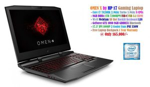 HP OMEN X 15 at 80,000/- • Core i5 8300H 2.3Ghz Turbo 4.0Ghz 8 CPU's • 8GB 1TB HDMI USB-C USB 3.1 WebCam • Wi-Fi Bluetooth SD Slot Backlit Keyboard • GeForce GTX 1050 Ti 4GB GPU LAN • 15.6' IPS 144Hz 1080P 2 Cooler Fans _