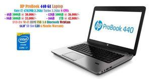 EX-Japan Laptops HP ProBook 440 G1 Core i7 4702MQ 2.2Ghz Turbo 3.2Ghz 8 CPUs • 4GB 500GB at 30,000/- • 8GB 500GB at 33,000/- • 12GB 500GB at 36,000/- DVD-Rw Wi-Fi HDMI USB 3.0 Bluetooth 14.0' WebCam SD Slot LAN