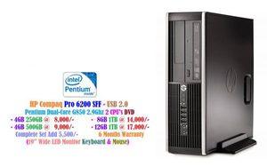 HP Compaq Pro 6200 SFF Pentium Dual-Core G850 2.9Ghz 2 CPU's DVD • 4GB 250GB at 8,000/- • 4GB 500GB at 9,000/- • 8GB 500GB at 12,000/-