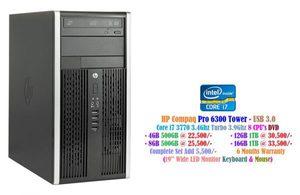 HP Compaq Pro 6300 Microtower - USB 3.0 Core i7 3770 3.4Ghz Turbo 3.9Ghz 8 CPU's DVD • 4GB 500GB at 22,500/- • 8GB 500GB at 25,500/- • 16GB 1TB at 33,500/-