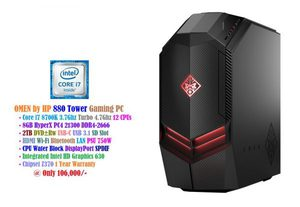 New PC's OMEN by HP 880 Tower Gaming PC at 106,000/- • Core i7 8700K 3.7Ghz Turbo 4.7Ghz 12 CPUs • 8GB HyperX PC4 21300 DDR4-2666 2TB HDD • DVD±Rw USB-C USB 3.1 SD Slot Chipset Z370 • HDMI Wi-Fi Bluetooth LAN PSU 750W • CPU Water Block DisplayPort SPDIF • Integrated Intel HD Graphics 630