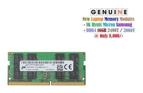 Laptop DDR4 16GB 2400T / 2666V Memory at 8,000/- • SK Hynix Micron Samsung