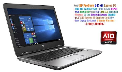 HP ProBook 645 G3 Laptop at 30,000/- • AMD A10-8730B 2.4Ghz Turbo 3.3Ghz 4 CPU's