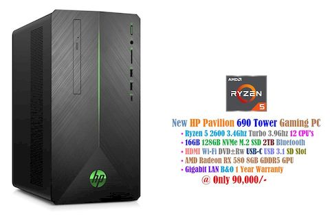 New PC HP Pavilion 690 Tower at 90,000/- • Ryzen 5 2600 3.4Ghz Turbo 3.8Ghz 12 CPU's