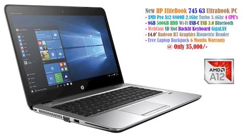 HP EliteBook 745 G3 Ultrabook • AMD PRO A12 8800B 2.1Ghz Turbo 3.4Ghz 4 CPU's