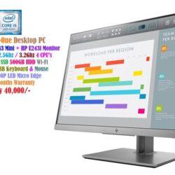 HP EliteDesk 800 G3 Mini + HP E243i Monitor - Core i5 6500T